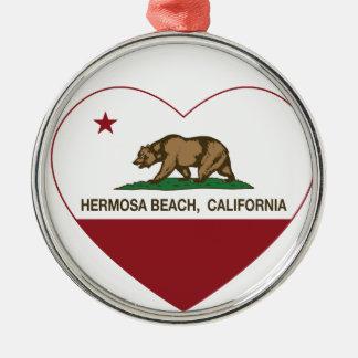 california flag hermosa beach heart metal ornament
