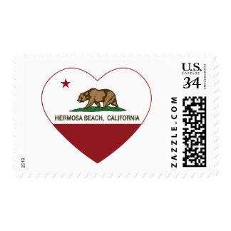 california flag hermosa beach heart stamps