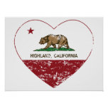 california flag highland heart distressed poster