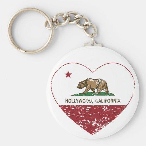 california flag hollywood heart distressed key chain