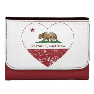 california flag hollywood heart distressed women's wallet