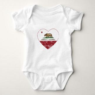 california flag homeland heart distressed baby bodysuit