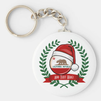 California Flag in A Santa Hat Keychain