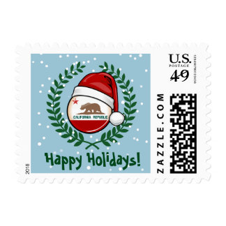 California Flag in A Santa Hat Postage Stamp