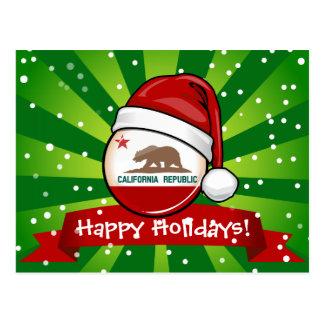 California Flag in A Santa Hat Postcard