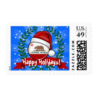 California Flag in A Santa Hat Stamp