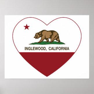 california flag inglewood heart poster