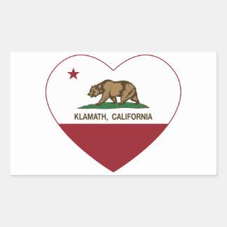 california flag klamath heart rectangular sticker
