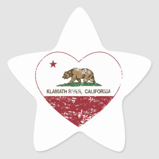 california flag klamath river heart distressed star sticker