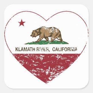 california flag klamath river heart distressed square sticker