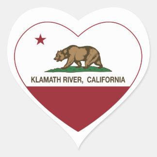 california flag klamath river heart heart sticker