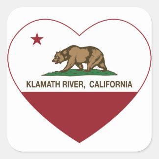 california flag klamath river heart square sticker