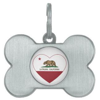 california flag la palma heart pet name tag