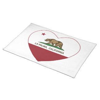 california flag la palma heart place mat