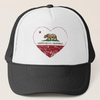 california flag ladera ranch heart distressed trucker hat