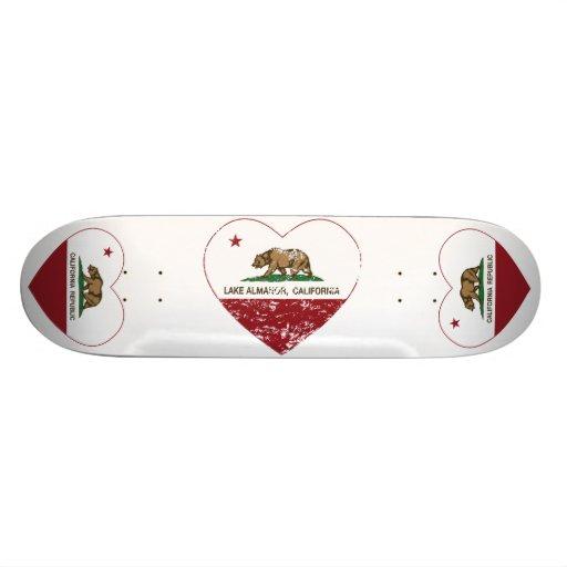 california flag lake almanor heart distressed skate board deck