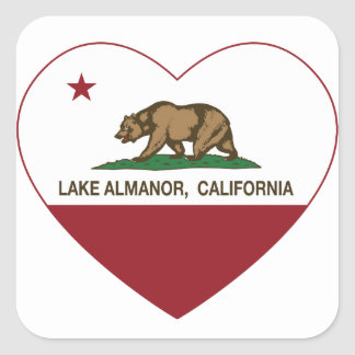 california flag lake almanor heart square sticker