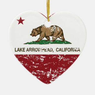 california flag lake arrowhead heart distressed Double-Sided heart ceramic christmas ornament
