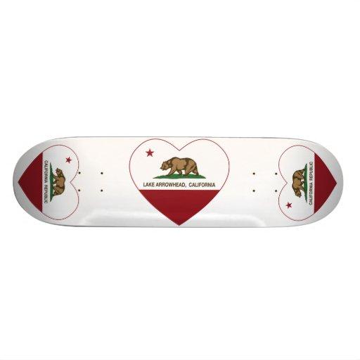 california flag lake arrowhead heart skate board deck