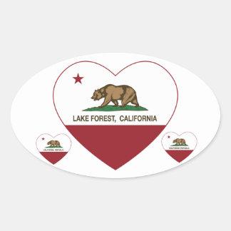 california flag lake forest heart oval sticker