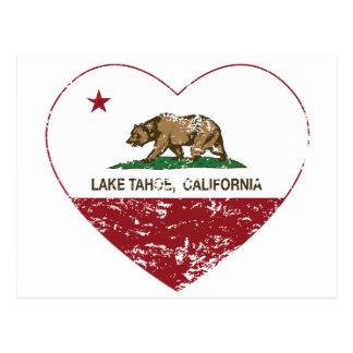 california flag lake tahoe heart distressed post cards