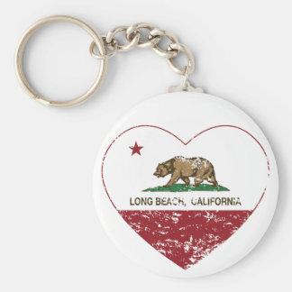 california flag long beach heart distressed basic round button keychain