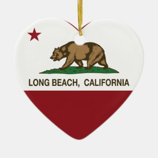 california flag long beach heart Double-Sided heart ceramic christmas ornament