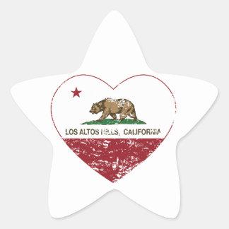 california flag los altos hills heart distressed star sticker