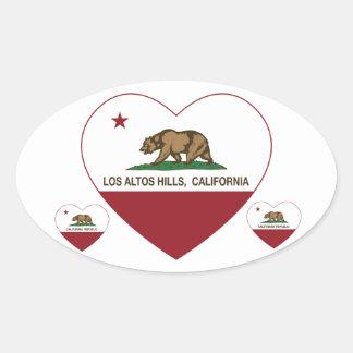 california flag los altos hills heart oval sticker