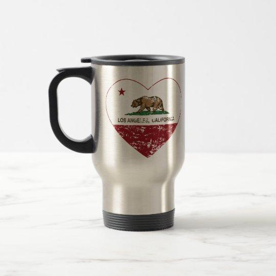 california flag los angeles heart distressed travel mug