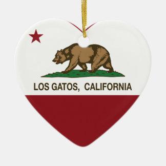 california flag los gatos heart ceramic ornament