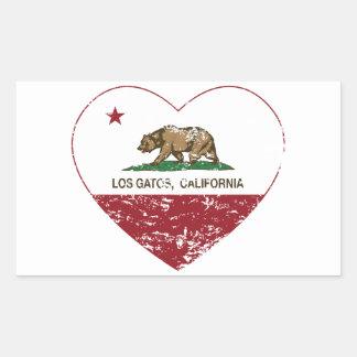 california flag los gatos heart distressed rectangular sticker
