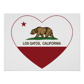 california flag los gatos heart poster