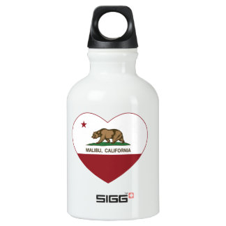 california flag malibu heart aluminum water bottle