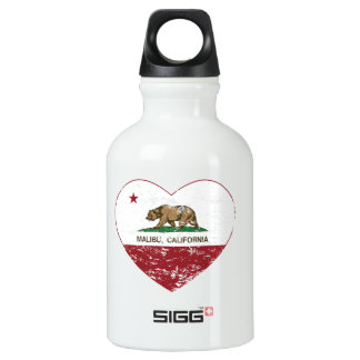 california flag malibu heart distressed aluminum water bottle