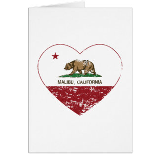 california flag malibu heart distressed card