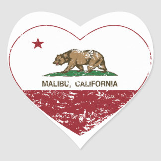 california flag malibu heart distressed heart sticker