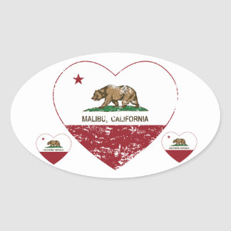 california flag malibu heart distressed oval sticker