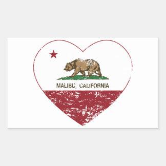 california flag malibu heart distressed rectangular sticker