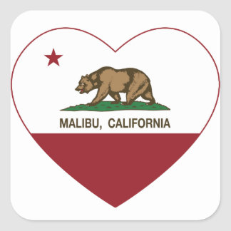 california flag malibu heart square sticker