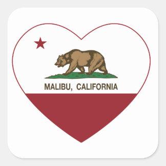 california flag malibu heart square sticker
