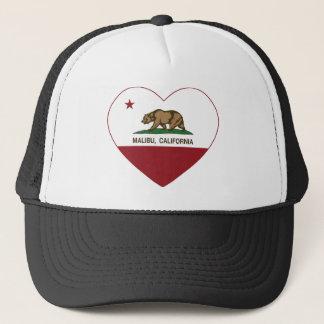 california flag malibu heart trucker hat