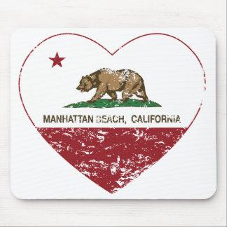 california flag manhattan beach heart distressed mousepad