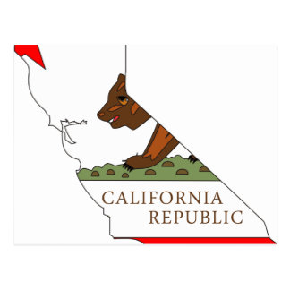 California Flag Map Postcard