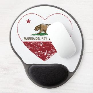 california flag marina del ray heart distressed gel mouse pad