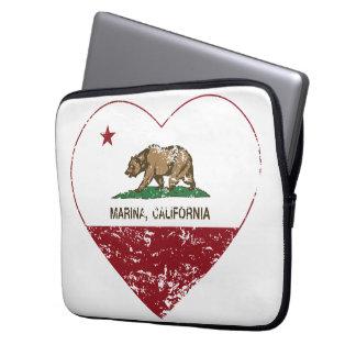 california flag marina heart distressed laptop computer sleeve