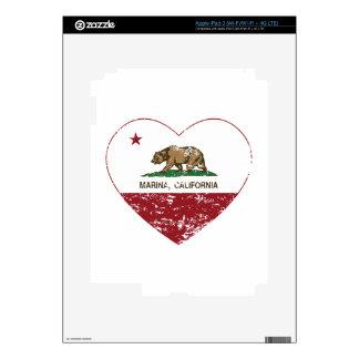 california flag marina heart distressed skins for iPad 3