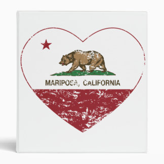 california flag mariposa heart distressed binder