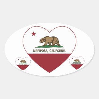 california flag mariposa heart oval sticker