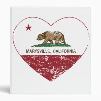 california flag marysville heart distressed 3 ring binder